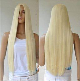 Wholesale 70cm Harajuku cosplay wig long straight blonde wig synthetic hair wigs for white women christmas halloween costume wigs