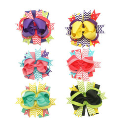 2016 new design5.5 inch printed Ribbon children bow Handmade Inspired Boutique Layered Hair Bow birthday hair bows girl hair clips