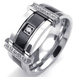 Wholesale Mens Cubic Zirconia Stainless Steel Ring Charm Elegant Wedding Band Black Silver US Size to Drop Shipping
