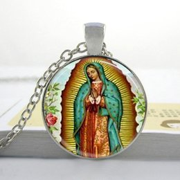 Fashion necklaces for women Our Lady of Guadalupe Necklace Virgin Mary Religious Catholic Glass Bezel Art Pendant Necklace H4