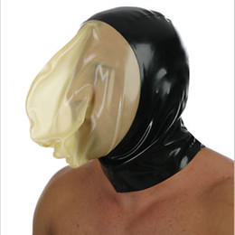 Wholesale Cheap Transparent Nature Latex Fetish Mask Hoods Latex Mask With Transparent Face Sexy Bondage Hood Sexy Costumes