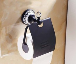 Wholesale Diamond Deco Oil Rubbed Bronze Toilet Paper Holder Waterproof Cover Ceramic Base