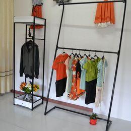 Double pole clothing rack. Landing clothing display rack. Clothing