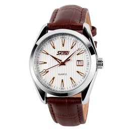 Wholesale SKMEI new fashion affordable luxury leather strap watch waterproof best mens reloj designer best watch brands