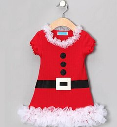 new 2014 merry christmas dress baby christmas dress costumes girl belt button print lace infant dress Santa Claus dress short sleeve tutu
