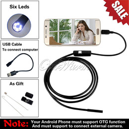 Wholesale 6 LED mm Lens P M Length Android USB Endoscope Waterproof Inspection Borescope Tube Camera