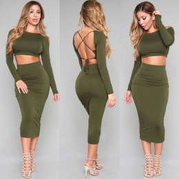 Wholesale Sexy Backless Outfit - Military Dress 2016 2 Piece Set Women Two Piece Outfits Bandage Bodycon Dresses Long Sleeve Robe Sexy Backless Vestidos Clothing