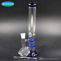 In Stock Blue 29cm 18.8MM bong Glass bongs With Colorful Smoking oil box glass water bongs Honeycomb Disk