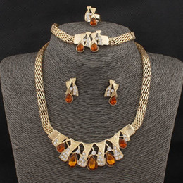 Hot Sale Free Shipping Fashion Women 18k Gold Plated Water Drop Wedding Crystal Jewelry Sets Wholesale