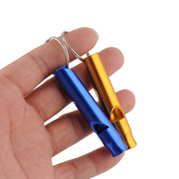 Wholesale Hot Sale Aluminum Alloy Whistle Keyring Mini For Outdoor Survival Safety Sport Camping Hunting