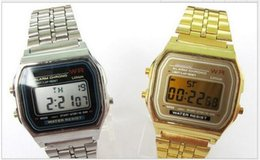 Wholesale&retail 1pcs lot Hot sale Men women watches f-91 fashion LED watches watch A159 W Gold, Silver casice