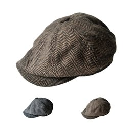 Wholesale S5Q Autumn winter Men s Fashion Casual Wool Tweed Blend Cap Child Octagonal Hats AAAFGY