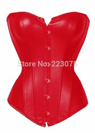 Wholesale Leather Strapless Top - Wholesale-Free shipping Strapless Black Red up Faux Leather Overbust Zipper Corset Bustier Top Women Shaper Sexy Lingerie Athletic Dress