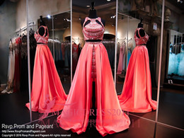 Wholesale Two Pieces Prom Dresses Coral Formal Party Gowns Rachel Allen Special Occasion Dress A Line Jewel Crystal Beaded Celebrity Custom Made