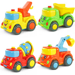 Wholesale Smiley engineering car small mining vehicles transport vehicle crane mixer truck toy