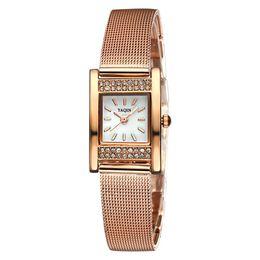 Wholesale Big Sale Fashion Bracelet Casual Rhinestone Case Watches Women Mesh Steel Band Rose Gold Quartz Watch Business Dress Wristwatch