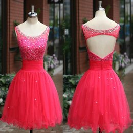 Red Beading Short Homecoming Dresses 2015 Jewel Backless Tulle Fabric Party Dress Real Image Custom made