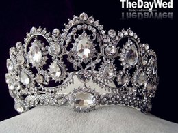 Wholesale Luxury Vintage Princess Bridal Jewelry Crown For Wedding Veils With Crystal Beaded Shiny Jewelry Bridal Accessories