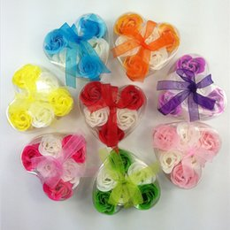 New Beautiful Heart Shaped Bicolor Rose Soap Flower (6pcs   box) Bath Soap Flower For Romantic Wedding Favor Valentines Day Gifts