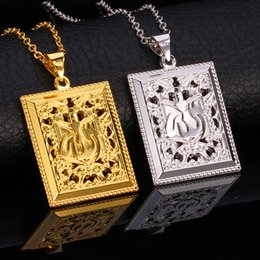 Wholesale Vintage Jewelry Islamic Women Men Gift Sale High Quality K Real Gold Plated Copper Fashion Jewelry Allah Pendant Necklace P337
