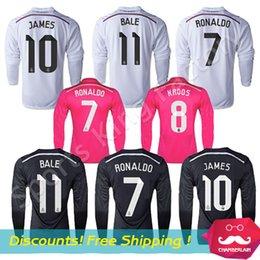 Wholesale Reals Madrid Long Sleeve Spain Madrid Football Jerseys camisa white pink black Ronaldo James Long Sleeve Soccer Jerseys