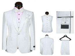 5 pieces White Suit Groom Tuxedos Shawl Lapel One Button Groomsmen Men Wedding Holiday Wear Custom Made(Jacket+Pants+Tie+Vest+handkerchief)