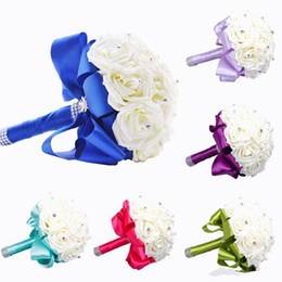 New Bridal Bouquet Wedding Decoration Artificial Bridesmaid Flower Crystal Silk Rose WF001 Royal Blue Mint White Green Lilac Cheap