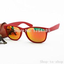 Wholesale 2016 New Arrived Original New Sunglasses Women Andy Designer Men Glasses Red Frame Red Orange Mirror Lens Case Box mm R02