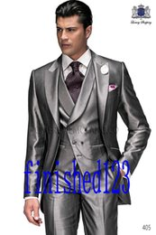 Wholesale Latest Design One Button Silver Groom Tuxedos Peak Lapel Groomsmen Best Man Wedding Prom Dinner Suits Jacket Pants Vest Tie G2902