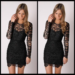 Little Black Lace Cocktail Dresses with Long Sleeves Sheer Crew Short Party Dresses Illusion Neck Sheath Mini Bridesmaid Homecoming Dresses
