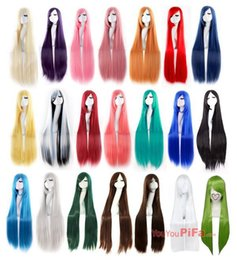 Wholesale Anime Cosplay Wig Oblique Bangs Long Straight Wigs cm inch Costume party hair wig