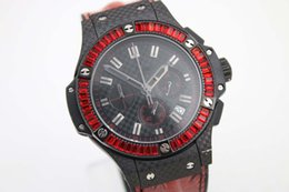 Wholesale AAA quality luxury brand watches men new hub Big Bang red diamonds bezel leather belts watch quartz chronograph watch men dress wristwatches