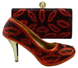Nice looking oral style high heel shoes match bags series African shoes and handbag sets for party 1308-L61 orange,heel 9cm