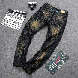 Wholesale Men Straight Jeans Denim Trousers Robin Jeans For Men High Quality Cotton Jeans Fried Snow skinny Jeans Rhinestone Designer true jeans