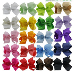 "20pcs 5.5"" Boutique Hair Bows Girls Baby Alligator Clip Grosgrain Ribbon"