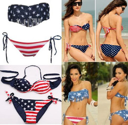 women Lady Pushup Padded USA Sexy bikini American Flag Fringe Tassel Bandage Bathing Suits Swimwear