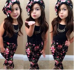 Wholesale Euramerican fashion kids outfits girls broken beautiful suit hair band leisure short sleeve set children clothing sets set GR191