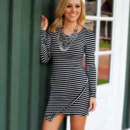 Women Long Sleeve Striped Knitted Pencil Bodycon Asymmetrical Hem Party Club Sexy Mini Autumn Winter Dress Vestidos