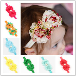 Baby fabric flowers headbands Children's Two flower floral Chiffon Headbands with Rhinestone Girls designer hair accessories 36 colors