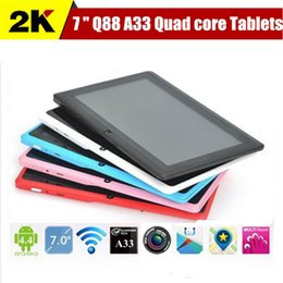 Wholesale UK Stock inch A33 Upgraded Quad Core dual camera Android tablet pc Q88 A33 GHz WIFI bluetooth Capacitive Screen tablets