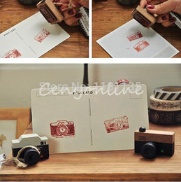 2pcs lot Small vintage LOMO Camera Wood Wooden Stamp Multi-purpose Decorative Mini Wooden Stamp DIY Funny Work Wholesale