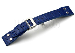Rivet Bande Montre Ceinture Strap gros-Noir Marron Bleu Croco Grain 22mm italienne en cuir véritable Pour IWC Big Pilot Avec boucle déployante pilot leather strap promotion à partir de bracelet en cuir pilote fournisseurs