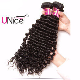 UNice Hair Deep Wave Brazilian Hair Bundles 12-26inch Non Remy 1Piece Human Hair Extension Natural Color