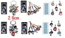 Wholesale Sebastian Anime - 10pcs   set Anime Black Butler Ciel Sebastian Metal Keychains Pendant Key Chain Key Ring free shipping