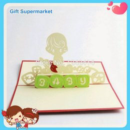 Wholesale Newborn Baby Boy Handmade Invitation Cards D Pop Up Boy Greeting Cards mm for Birthday Red Color