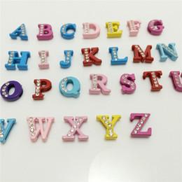 Wholesale 52PCS Lot 8MM Half Rhinestones Colorized Slide Letters A-Z Alphabet DIY Slide Charms Fit 8MM Wristbands Bracelets Belts SL11