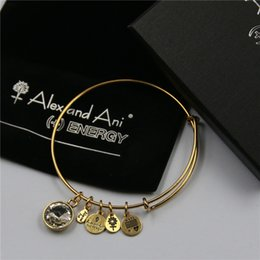 Wholesale Twelve design mm diameter gold alex and ani Birthstone Charm Bangle with box and Drawstring bag