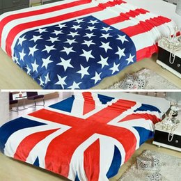 Wholesale United States British UK flag Coral fleece blankets on the bed US flag blanket throw bed sheet x200cm