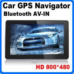 Wholesale 5 inch Truck GPS Navigator HD Screen MHZ DDR128M GB IGO Primo D Maps Bluetooth FM Transmitter AVIN Car GPS Navigation