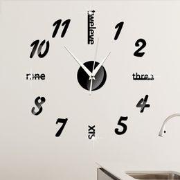 Wholesale Creative Wall Clock Decorative Mirror Acrylic Mirror Clock Digital Wall Clock Living Room Wall Stickers